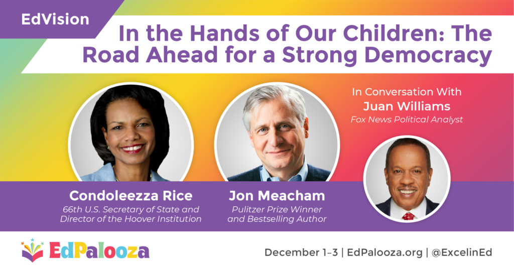 EdVision announcement with pictures of Condoleezza Rice, Jon Meacham and Juan Williams.